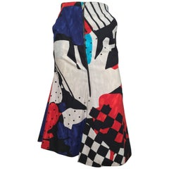 Spazio 1980s Cotton Abstract Pattern Mermaid Skirt with Pockets Size 4.