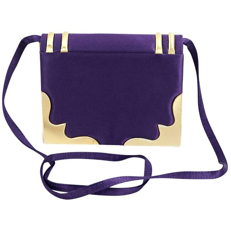 Paloma Picasso Purple and Gold Satin Clutch