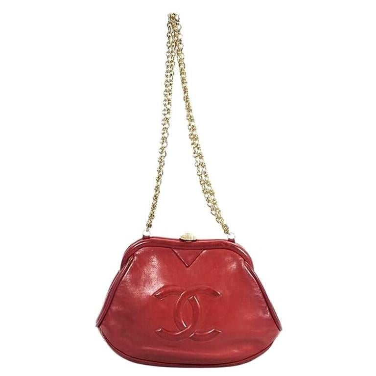Chanel Vintage Red Leather Clutch
