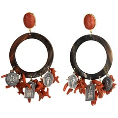 Amlè Madonna Coral Pendant Earrings