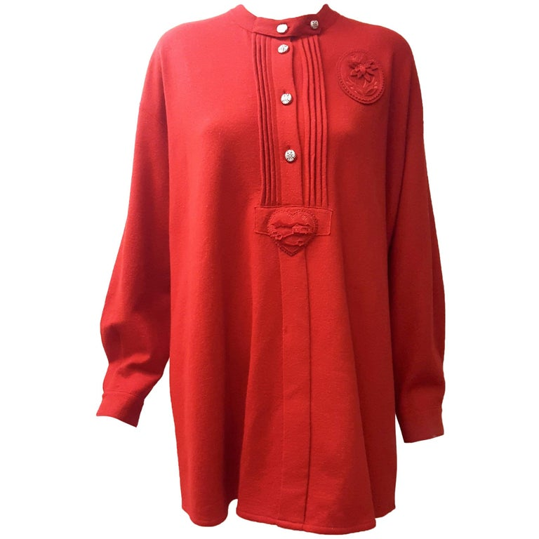 Chanel Burgundy Wool Long Sleeve Pullover Blouse w/Buttons