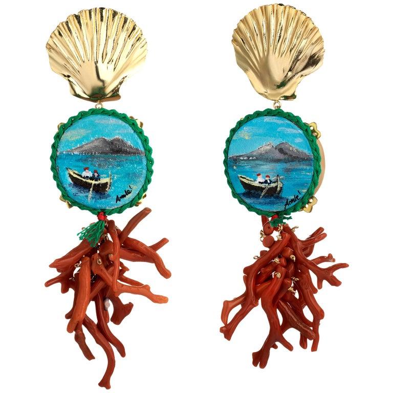 Amlè Vesuvio Handcrafted Pendant Earrings For Sale