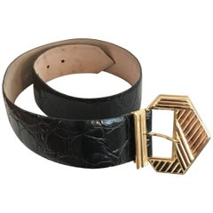 Bob Mackie Art Deco Buckle on Faux Alligator Leather Strap, 1980s