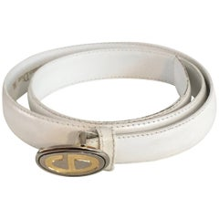 Dior Logo Buckle with White Leather Strap, 1980s