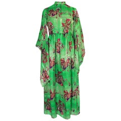 Mollie Parnis Kimono Sleeve Printed Green Silk Dress, 1970s