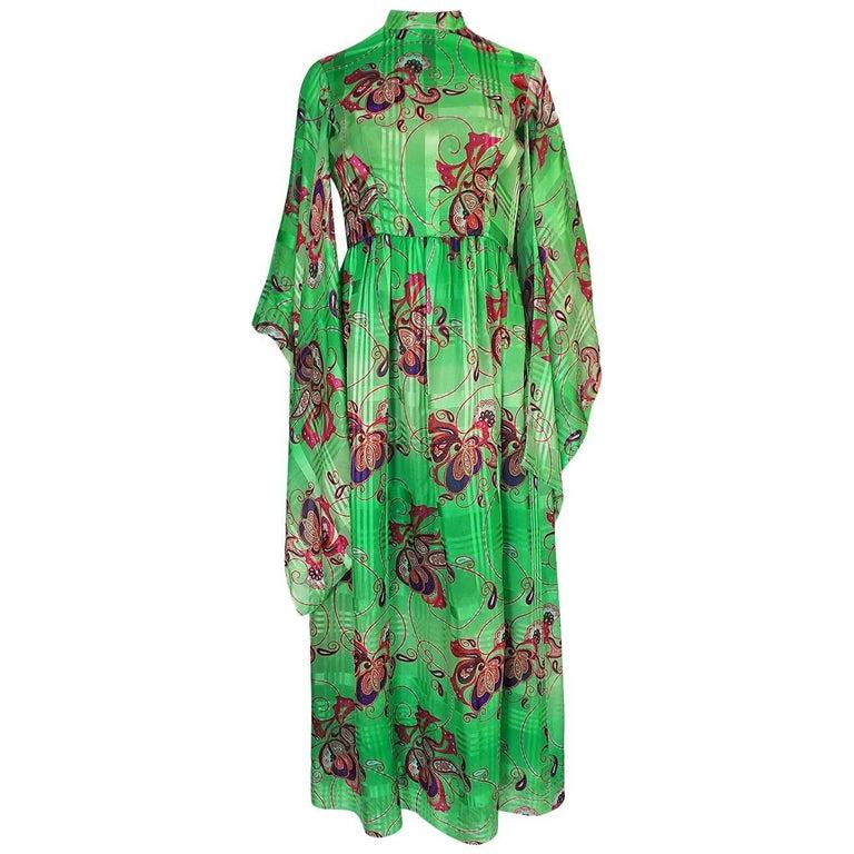 Mollie Parnis Kimono Sleeve Printed Green Silk Dress, 1970s