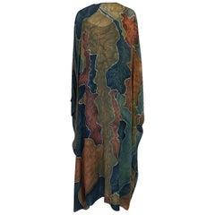 1970s Unlabelled Well Made Tie Dye Printed Silk Caftan