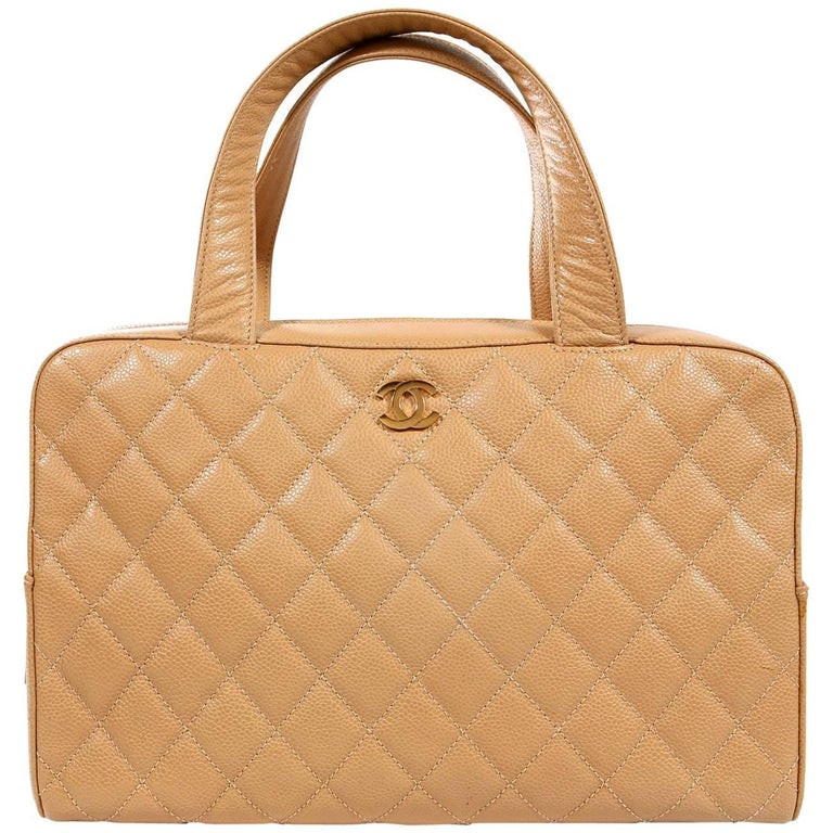 Chanel Beige Caviar Leather Quilted Day Bag Satchel