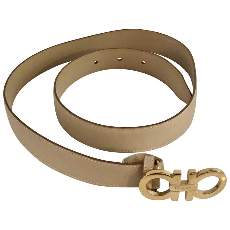 Ferragamo Tan Leather Belt Strap with Gold Logo Buckle