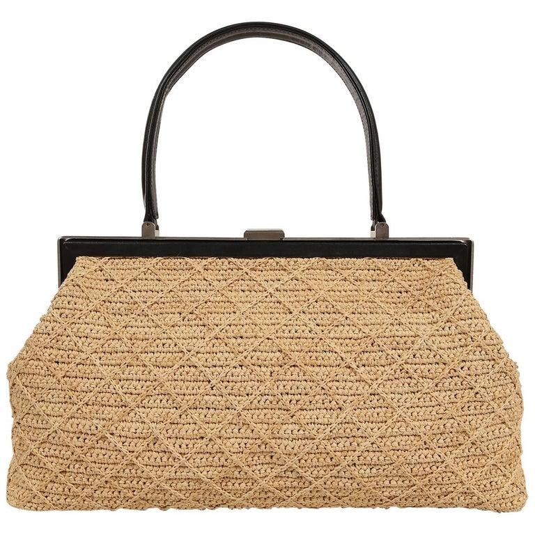 Chanel Raffia Straw  Framed Bag