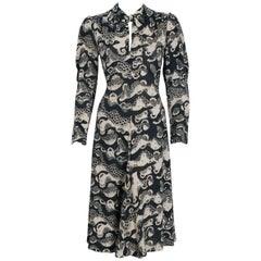 1974 Ossie Clark Novelty Serpent Snake Celia Birtwell Print Crepe Tie-Belt Dress