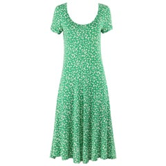 DIANE VON FURSTENBERG c.1970's DVF Green Abstract Dot Print Knit Shift Dress