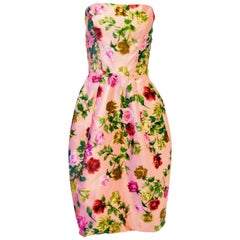 1950s Strapless Pink Silk Floral Rose Cocktail Dress