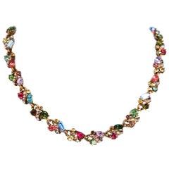 1960s Hollycraft Rainbow Rhinestone Necklace