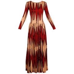 Unworn 1970s Teal Traina Vintage Jersey Knit Op Art Maxi Dress with Open Back
