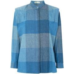 Issey Miyake Blue Cotton Check Shirt Top