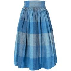 Issey Miyake Blue Cotton Check Skirt