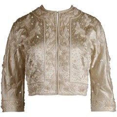 1960s Vintage Metallic Sequin + Beaded Ivory White Silk Satin 3/4 Sleeve Jacket