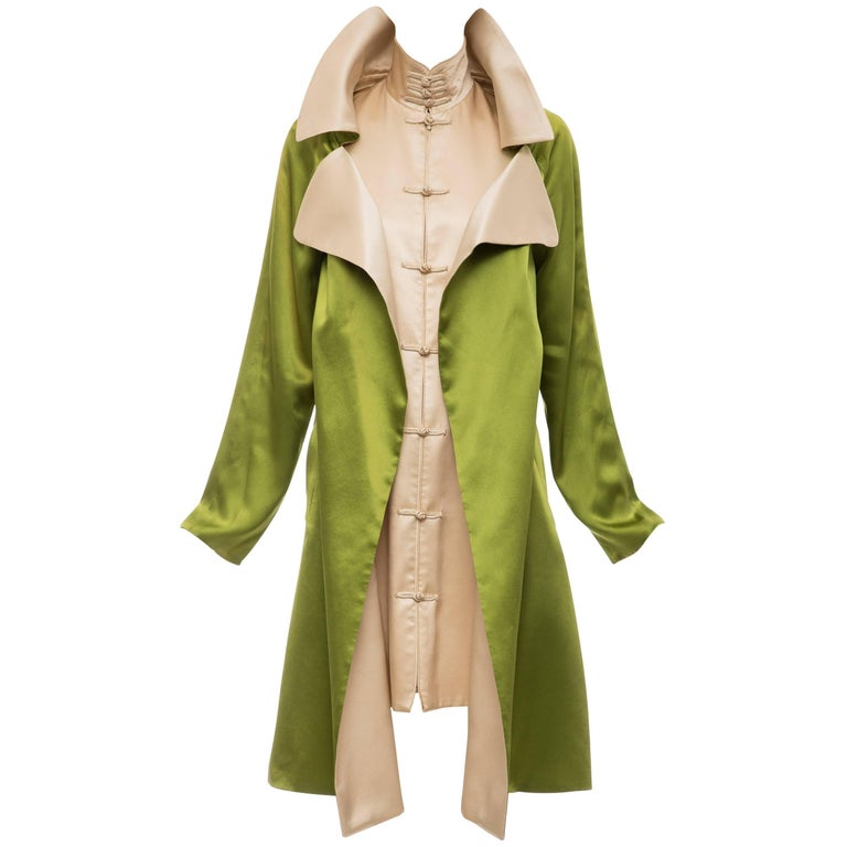 Jean Paul Gaultier Silk Charmeuse Dress Coat, Fall 2010 For Sale