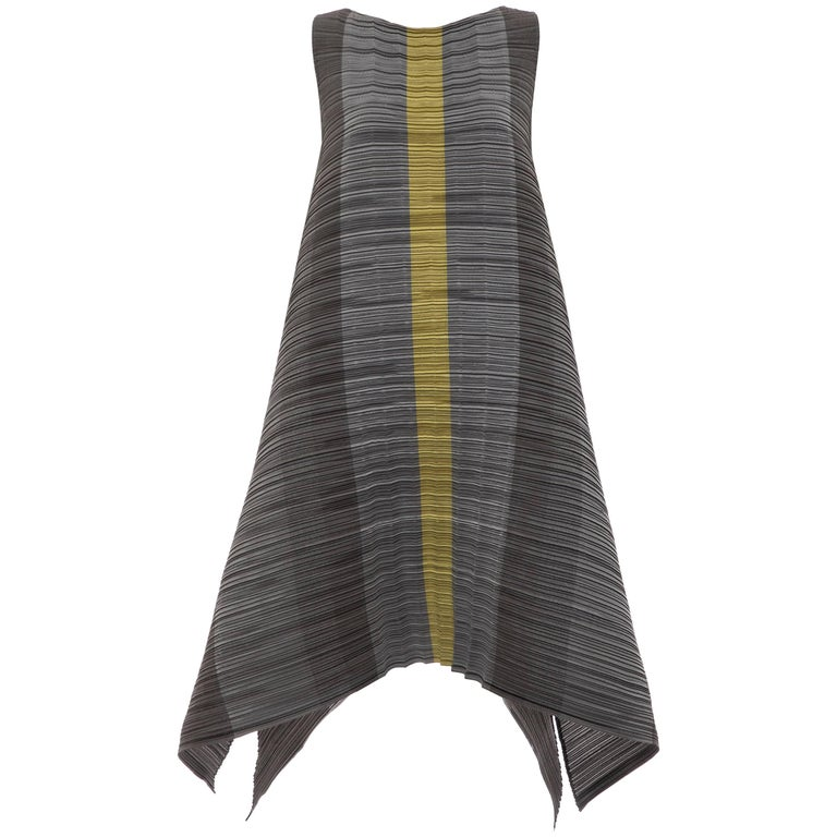 ab1087535a5 Issey Miyake Grey Chartreuse Sleeveless Pleated Dress at 1stdibs