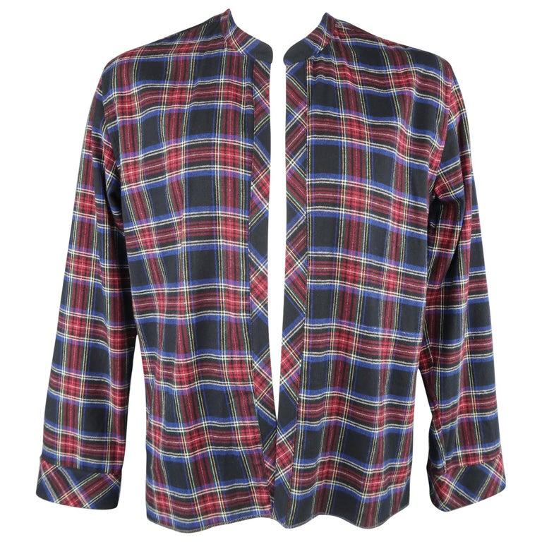 461e4790a236 Men s VISVIM Size L Black Red   Blue Plaid Flannel Open Band Collar Shirt  ...