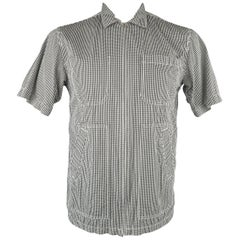 Men's JUNYA WATANABE Size L Black & White Checkered Gingham Cotton Short Sleeve