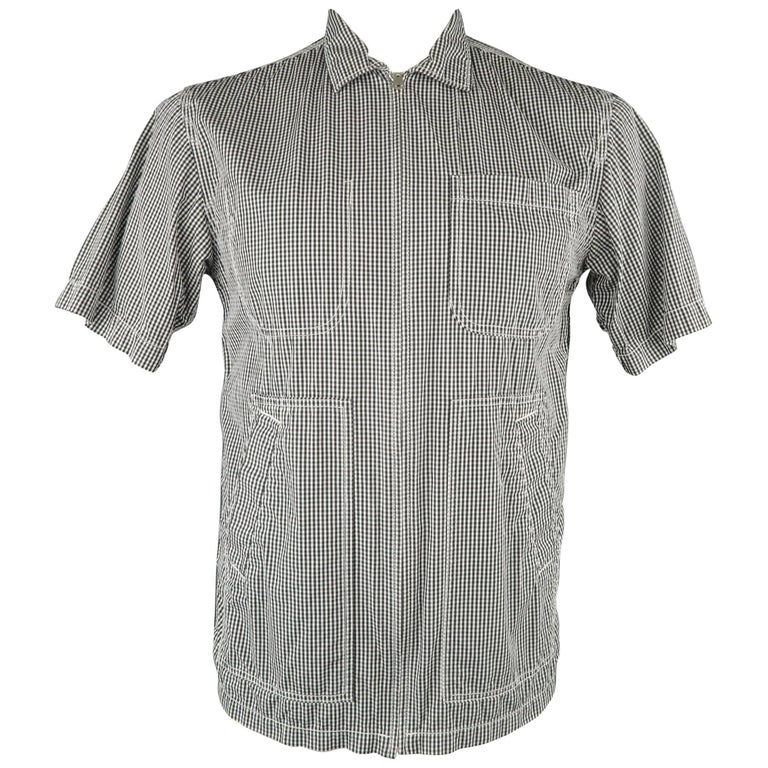 Men's JUNYA WATANABE Size L Black & White Checkered Gingham Cotton Short Sleeve
