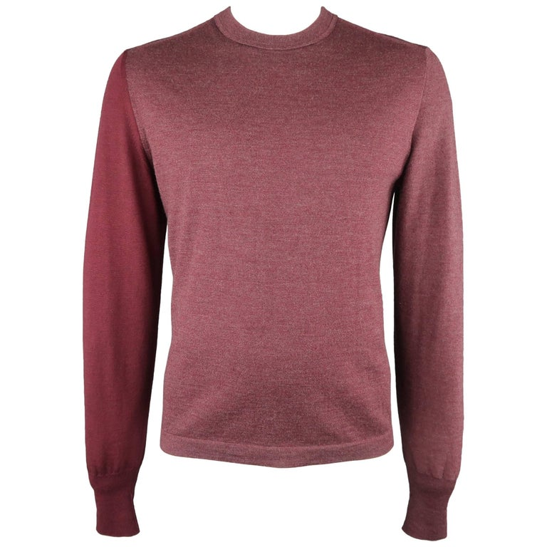 Men's MAISON MARTIN MARGIELA Size XL Burgundy Color Block Wool Pullover