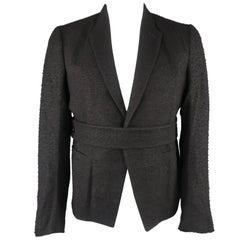 Men's RICK OWENS 46 Black Pill Textured Cashmere Blend Belted Jacket