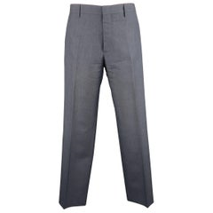 Men's PRADA Size 30 Steel Blue Gray Solid Mohair / Wool Dress Pants