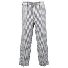 Men's BLACK FLEECE Size 30 White & Blue Stripe Textured Cotton Cuffed Pants