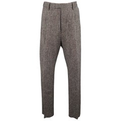 Men's DSQUARED2 Size 32 Grey Multi-Color Tweed Wool Blend Pleated Dress Pants