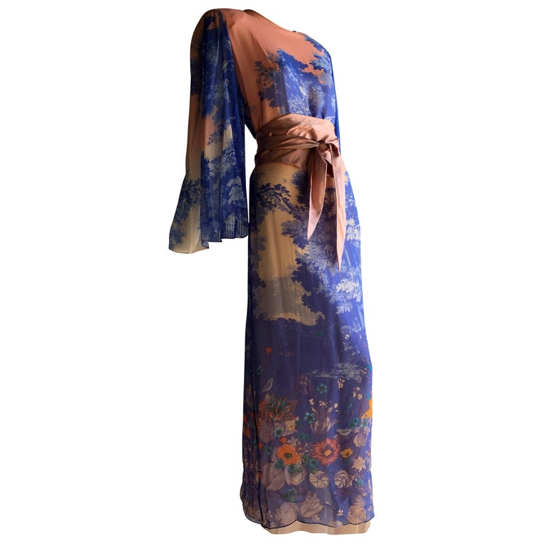 Hanae Mori Printed Silk Chiffon Maxi Dress With Japanese Meadow Print, 1970s  For Sale