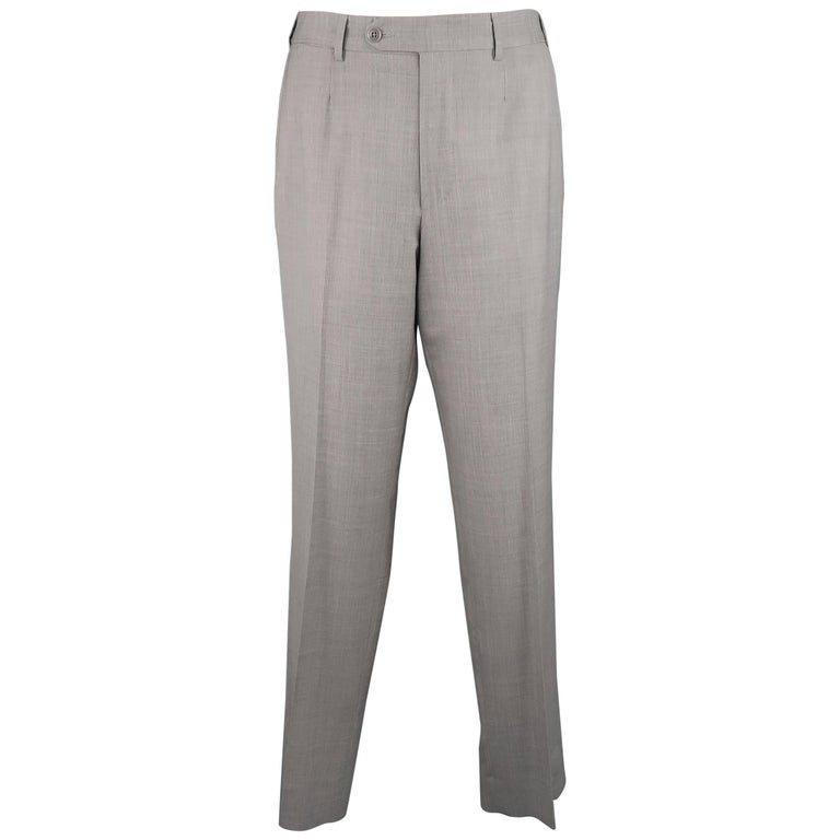 Men's ERMENEGILDO ZEGNA Size 32 Light Gray Wool Flat Front Dress Pants