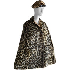 Faux Fur Leopard Print Reversible Swing Cape and Leopard Beret, 1960s