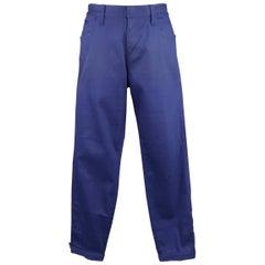 Men's GUCCI Size 32 Royal Blue Cotton Denim Button Moto Cuff Jeans