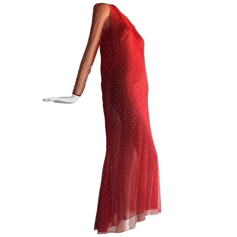 1980s Pauline Trigere Rhinestone Studded Red Net Evening Gown W/ Fishtail Hem