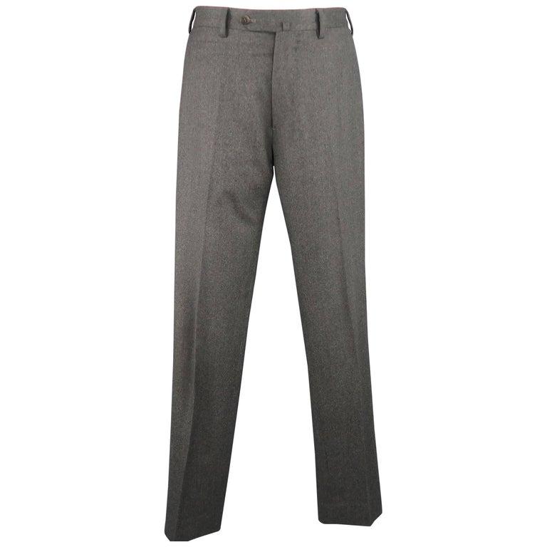 09803576c Men s BORRELLI Size 32 Dark Gray Solid Wool Flat Front Dress Pants For Sale