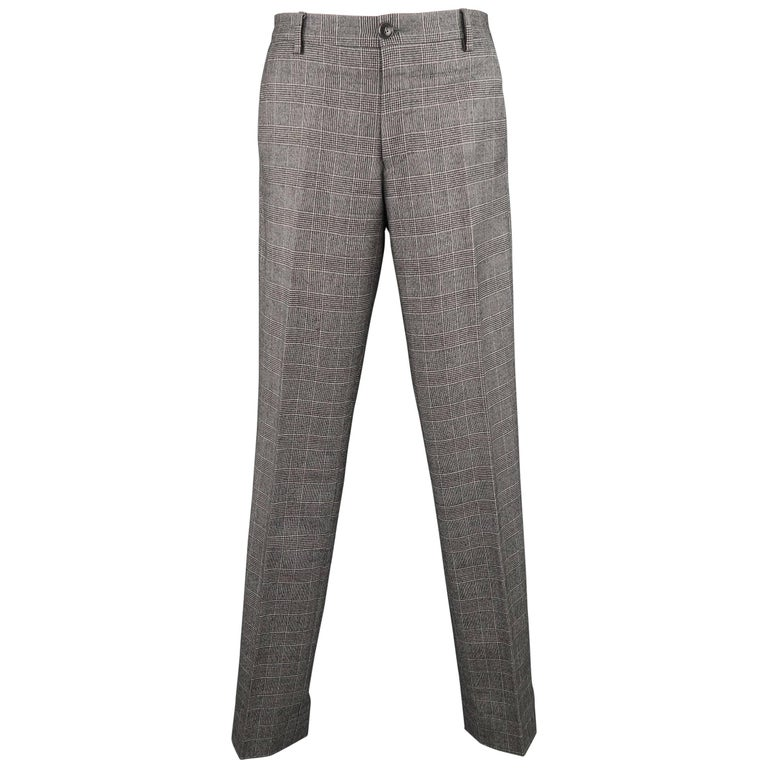 Men's PAUL SMITH Size 32 Light Grey Glenplaid Wool Flat Front Dress Pants