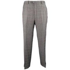 Men's BRIONI Size 34 Grey Glenplaid Wool Blend Flat Front Cuffed Dress Pants