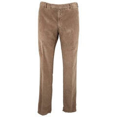 Men's BOGLIOLI Size 34 Tan Textured Corduroy Dress Pants