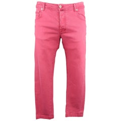 Men's KITON Size 34 Pink Washed Denim Button Fly Slim Jeans