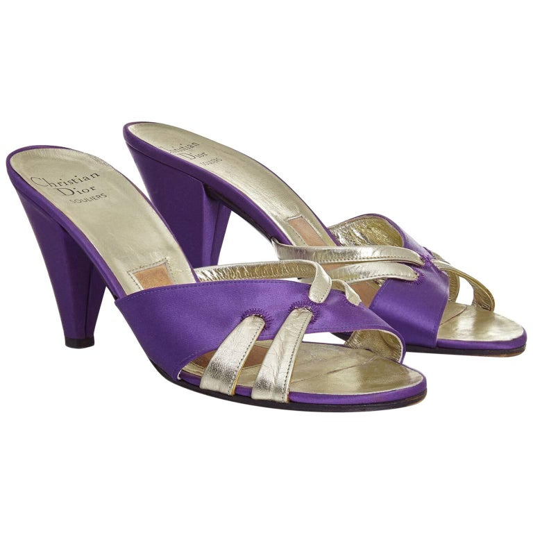 Christian Dior 1970s Purple and Gold Tone Heeled Sandals US 5 For Sale