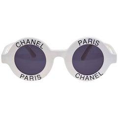 Chanel Logo Frame White Sunglasses