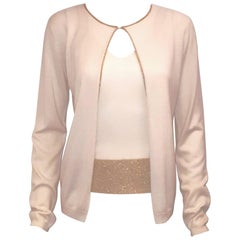Vivacious Valentino Silk & Cashmere Ivory 2 Pc. Sweater Set with Gold Tone Trim