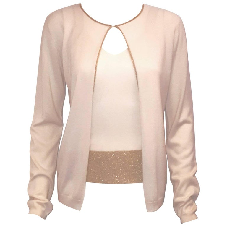 Vivacious Valentino Silk & Cashmere Ivory 2 Pc. Sweater Set with Gold Tone Trim