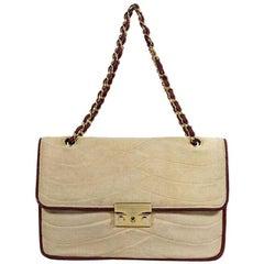 Chanel Beige and Burgundy Vintage Quilted Shoulder Bag