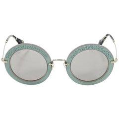 Teal Miu Miu Round Suede Sunglasses