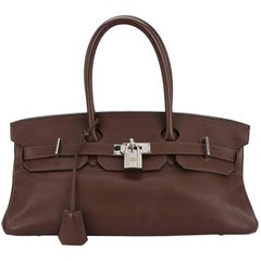 Hermes Birkin Chocolate Brown Leather Palladium Top Handle Satchel Flap Bag