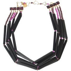 Yves Saint Laurent Vintage Black and Purple Glass 6 Strand Necklace